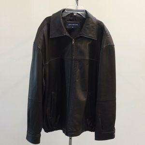 John Ashford Sz XL leather jacket zip Brown